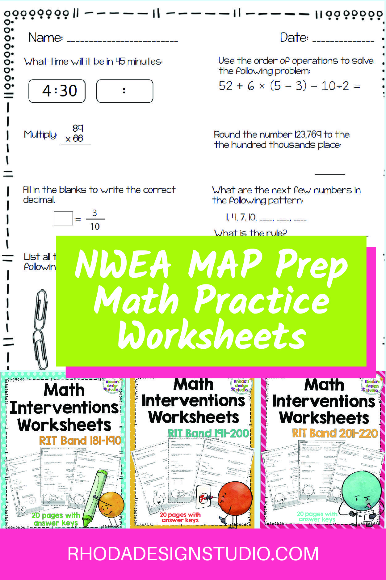 Nwea Map Prep Math Practice Worksheets Rit Band 180 220