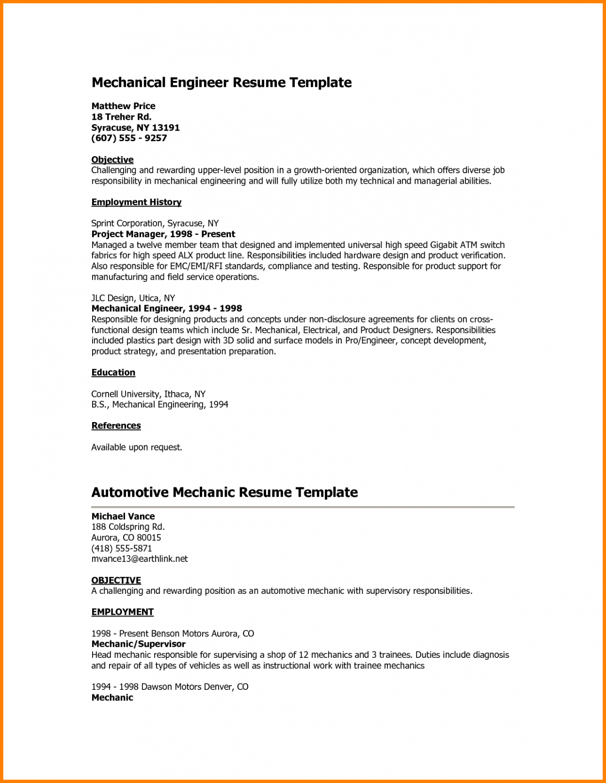 10 Engineer Mba Resume