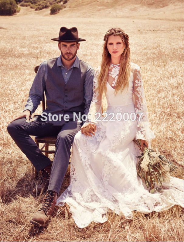 Vintage Beach Boho Lace Wedding Dresses Long Sleeves Illusion 2015 Country Lace Bridal Wedding dresses_