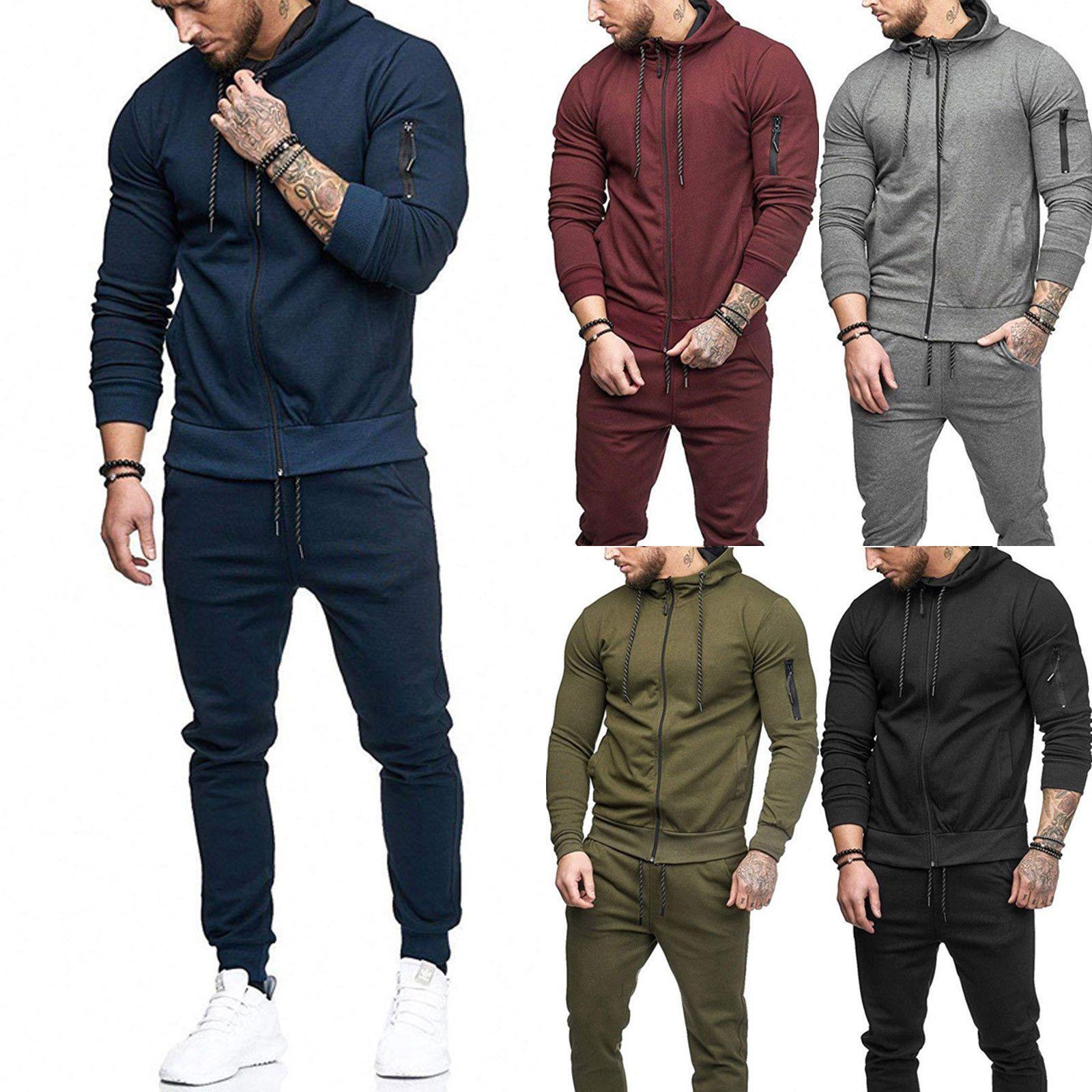Men Tracksuit Set Hoodies Sweatsuit Autumn Slim Fit Jogger Sportswear Suit USA