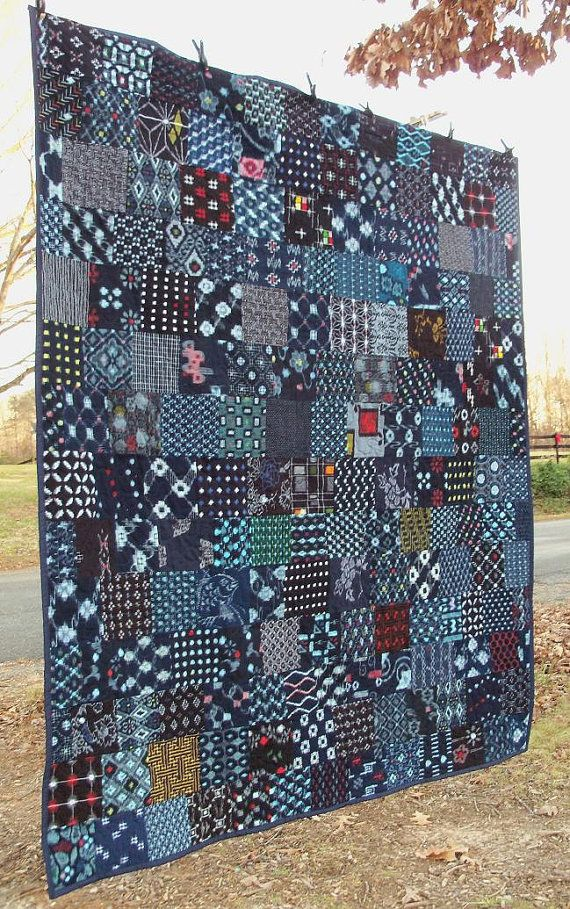 indigo quilt japanese kasuri boro cotton patchwork art textile patchwork pinterest. Black Bedroom Furniture Sets. Home Design Ideas