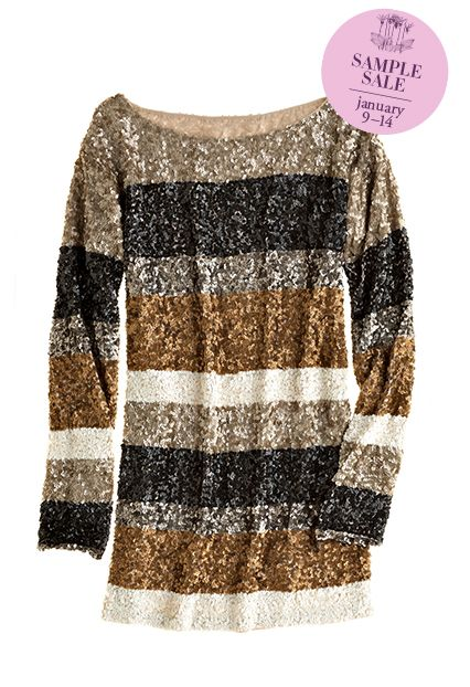 Unveil your opulent side in Antik Batik's metallic sequined striped tunic.