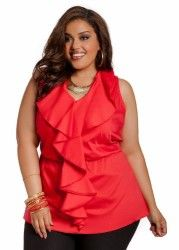 0c6494a3dc2 Ashley Stewart Women s Plus Size Ruffle Front Shark Bite Top ...