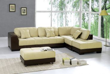 Dark Brown Leather And Soft Beige Microfiber Sectional With 2 Ottoman Discount Living Room Furniture Modern Furniture Living Room Stylish Living Room Furniture