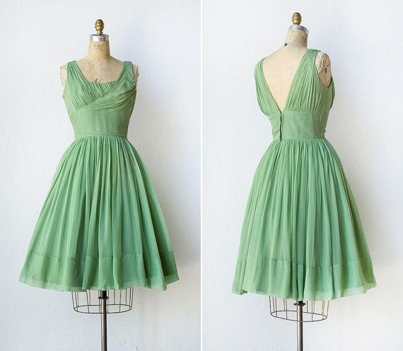 Vintage 1950 party dress / 50s green chiffon by adoredvintage, find more women fashion ideas on www.misspool.com