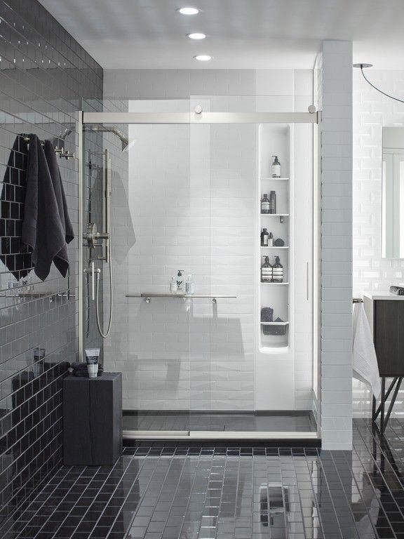 Brooklyn Black Bathroom Small Bath Frameless Sliding Shower