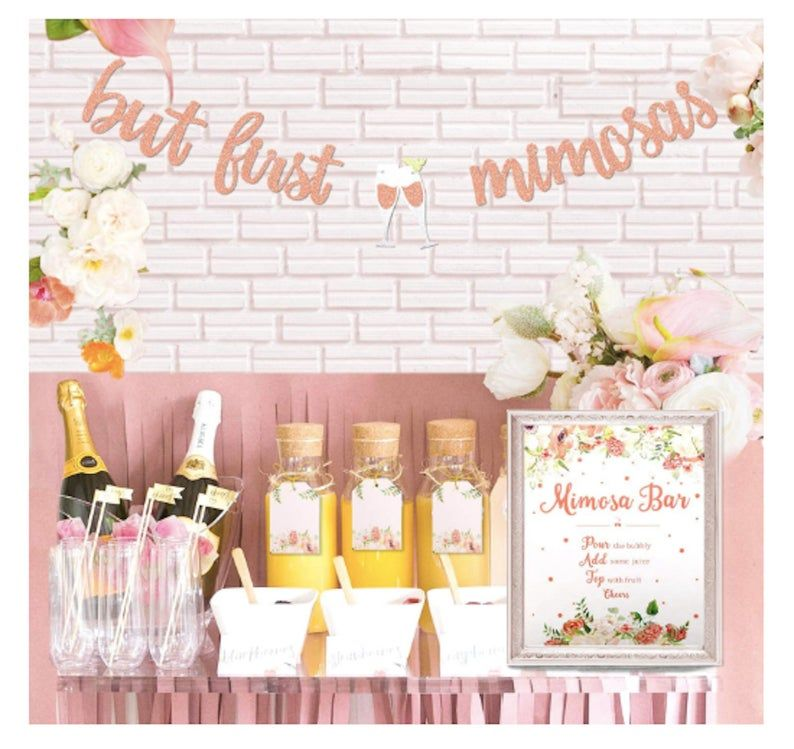 Rose Gold Mimosa Bar Sign Banner Decorations Bridal Shower Etsy In 2020 Mimosa Bar Bridal Shower Bridal Shower Rustic Bubbly Bridal Shower