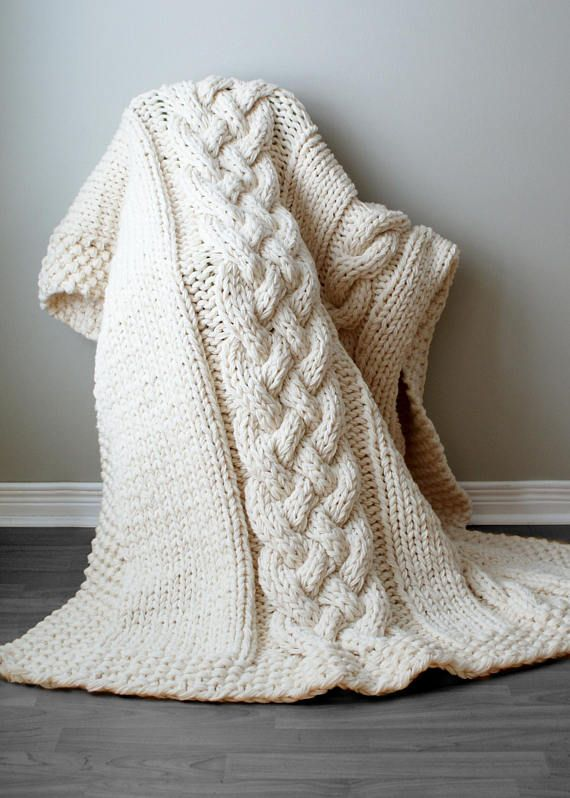 Diy Knitting Pattern Double Cable Throw Blanket 2012002