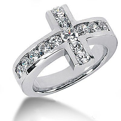 @Desiree Ferris1.4 Ct. Diamonds Cross Shape Engagement Ring White Gold