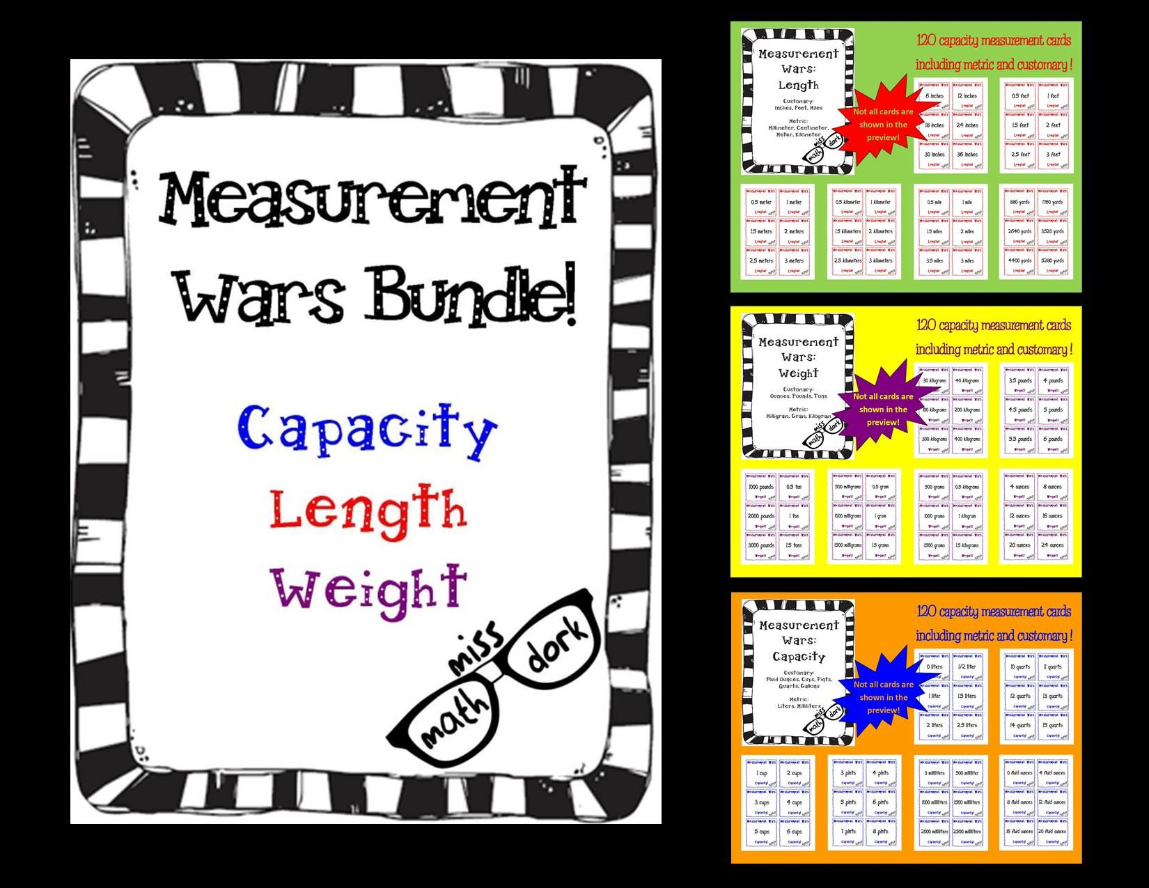 Measurement Wars Bundle Capacity Length And Weight New