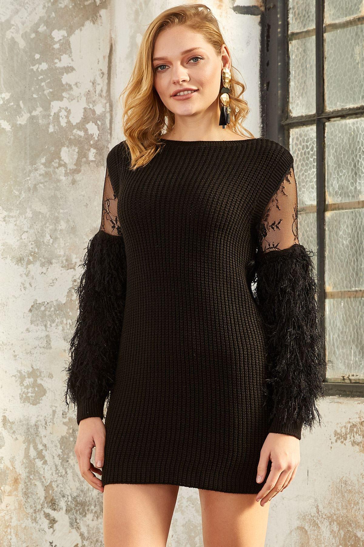 فستان محبوك قصير بأكمام شيفون لون أسود