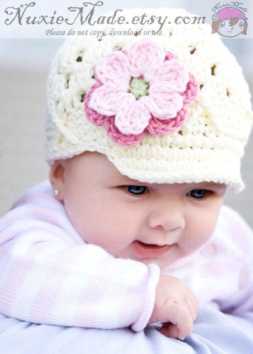 Handmade Crochet Baby Girl Hat 3-6 months Pink White beanie Cap