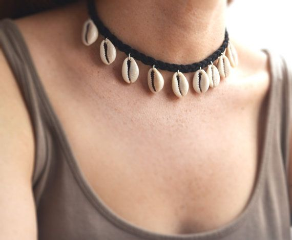 ab54f63890123 Cowrie Shell Necklace, Shell Choker, Shell Jewelry, Cowrie, Beach ...