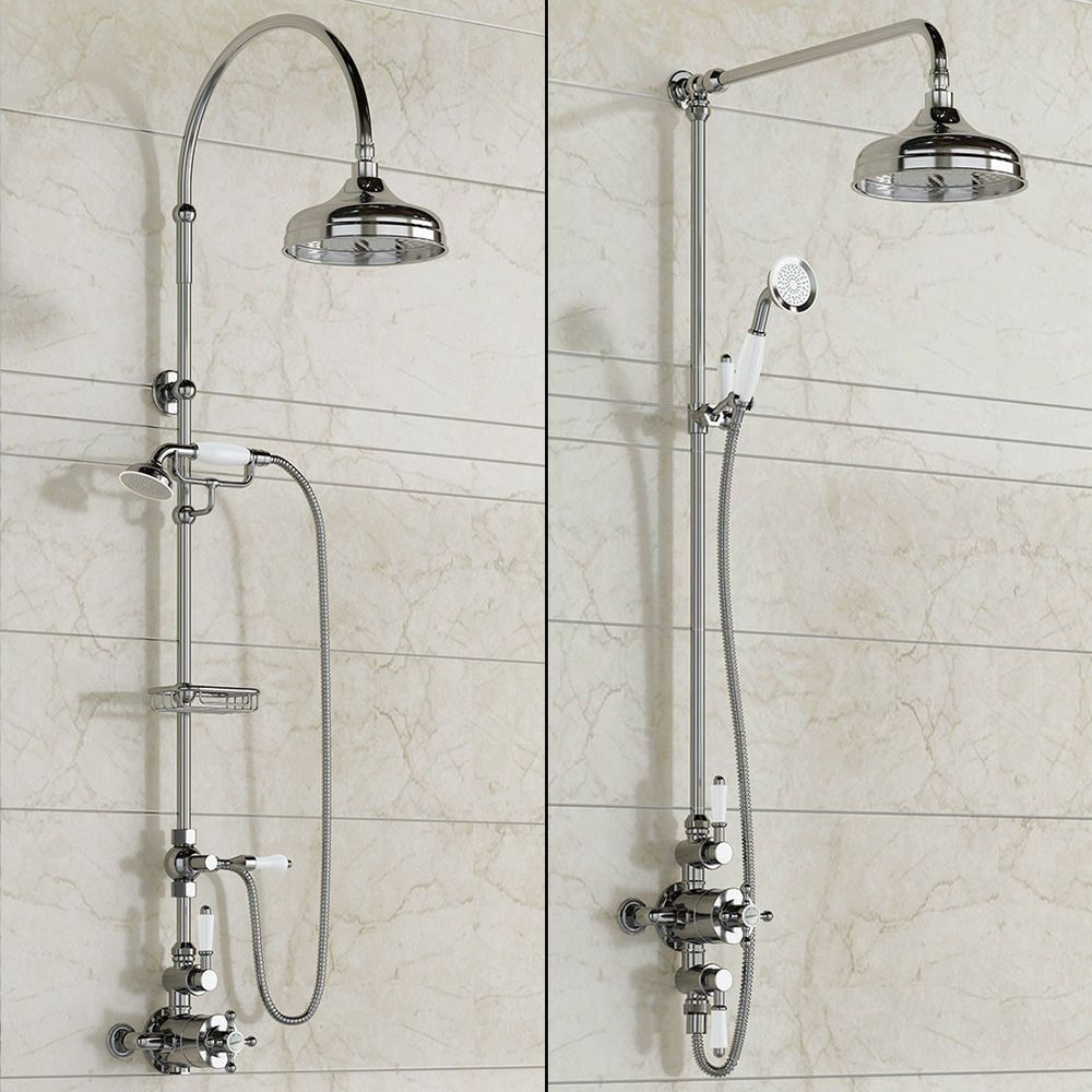 Traditional Designer Chrome Mixer Shower Head Exposed Thermostatic ...