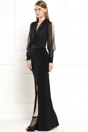 Irony lapel double-breasted long dress slits LYCRA
