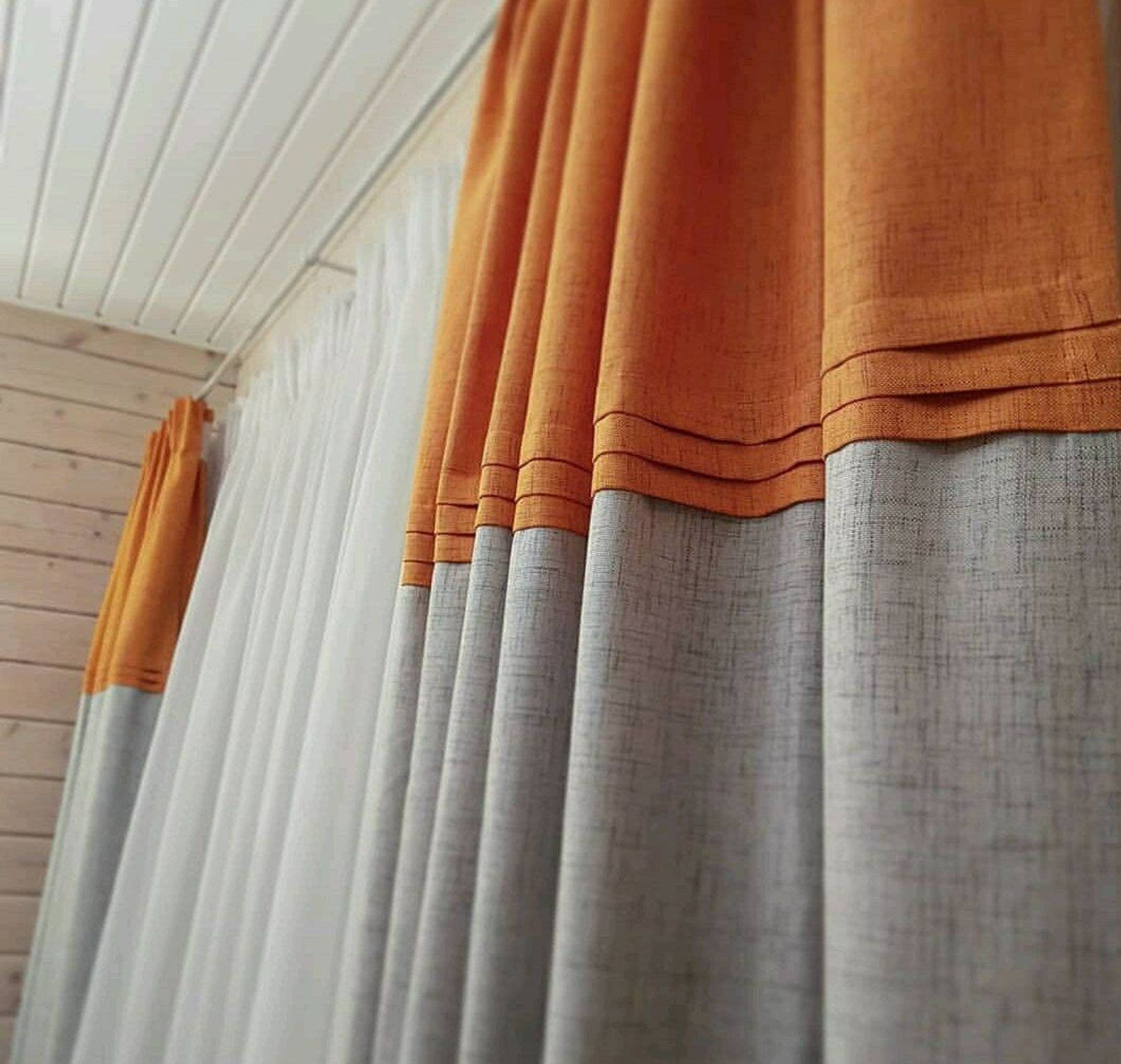 Orange And Natural Color Block 100 Linen Custom Curtain Panel