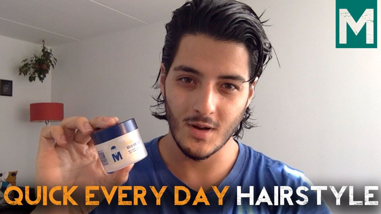 Quick everyday hairstyle for half long thick hair mr pompadour