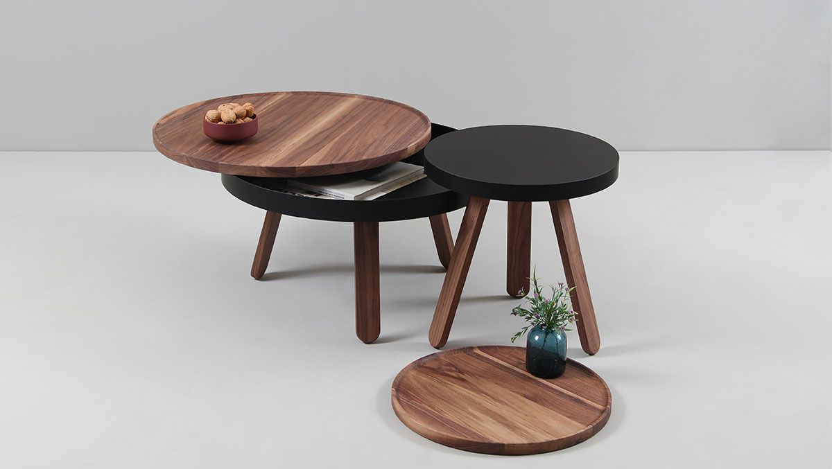 Discover Our Batea Tray Table, A Small Auxiliary Table With A Wooden Tray  For Carrying