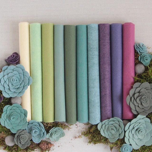 Wool Blend Felt Felt Balls And Embroidery By Benziedesign On Etsy Felt Crafts Felt Flowers Wool Felt