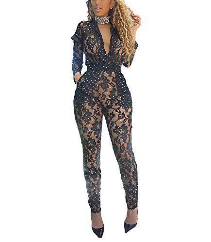 Vamvie Women s Sexy Mesh See Through V Neck Sequin Long Sleeve Jumpsuit  Bodycon Romper With Pocket 30904573e