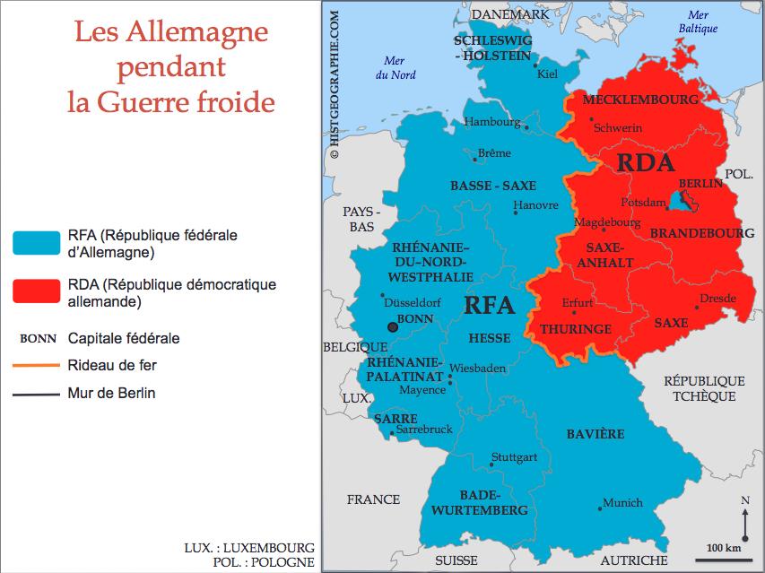 carte allemagne guerre froide Carte de la division de l'Allemagne pendant la Guerre froide (1949