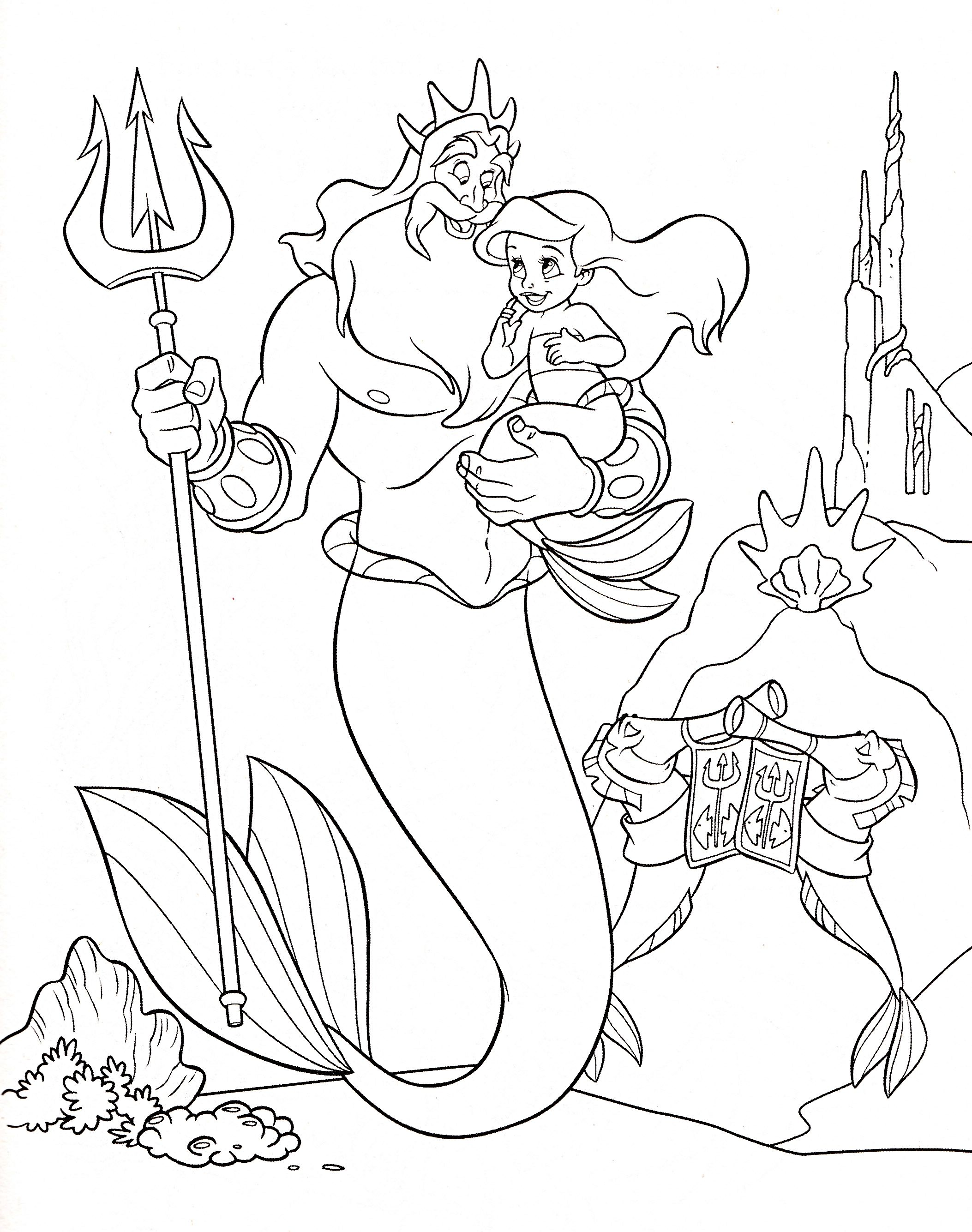 Coloring book disney princess - Walt Disney Coloring Page Of King Triton And Princess Ariel From The Little Mermaid Ariel S Beginning Hd Wallpaper And Background Photos Of Walt Disney