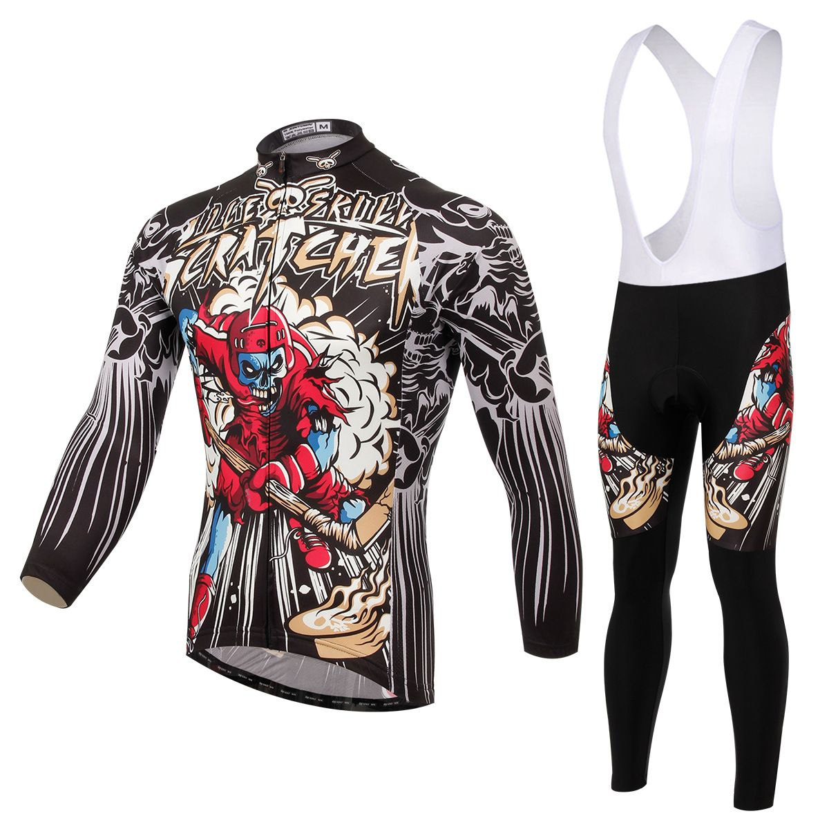 67667613a Cycling Set Long Sleeve Jersey and Bib Shorts 3D Pad Pro Men Anti-sweat  Skull