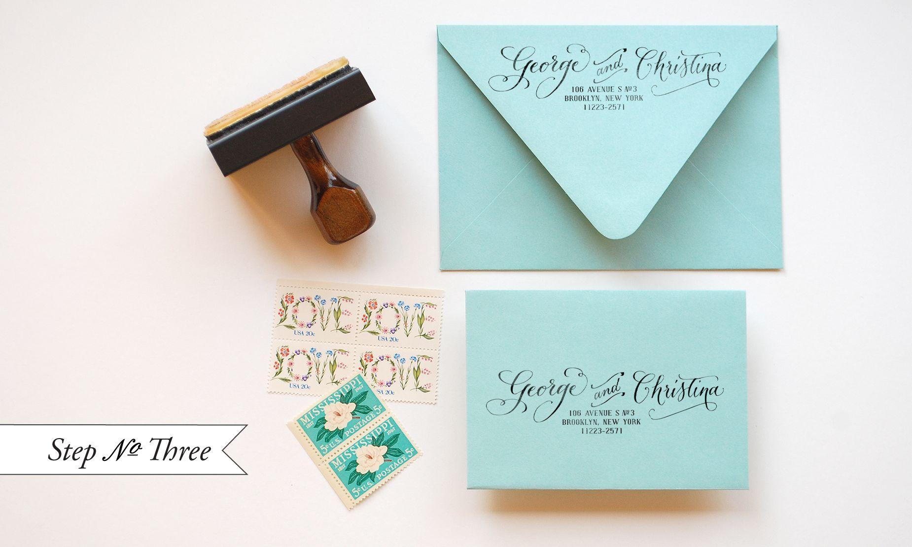 "Diy Addressing Wedding Invitations: DIY ""Little Blue Box"" Inspired Rubber Stamp Wedding"