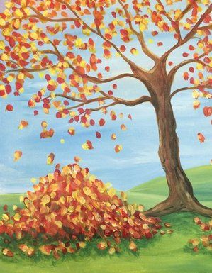 Fall Leaves Fall Canvas Painting Fall Tree Painting Autumn Painting
