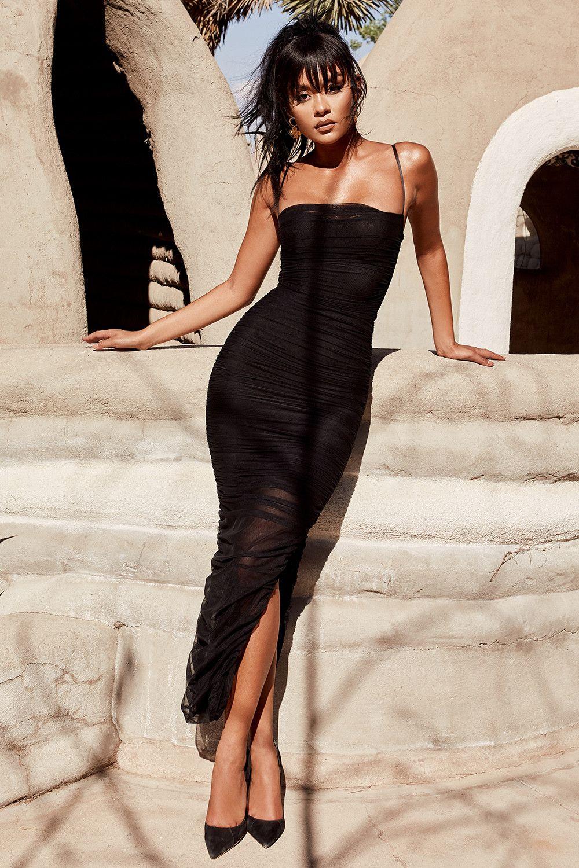 385c8cf2d761e3 Clothing   Max Dresses    Fornarina  Black Organza Mesh Maxi Dress Ruwe Jurk