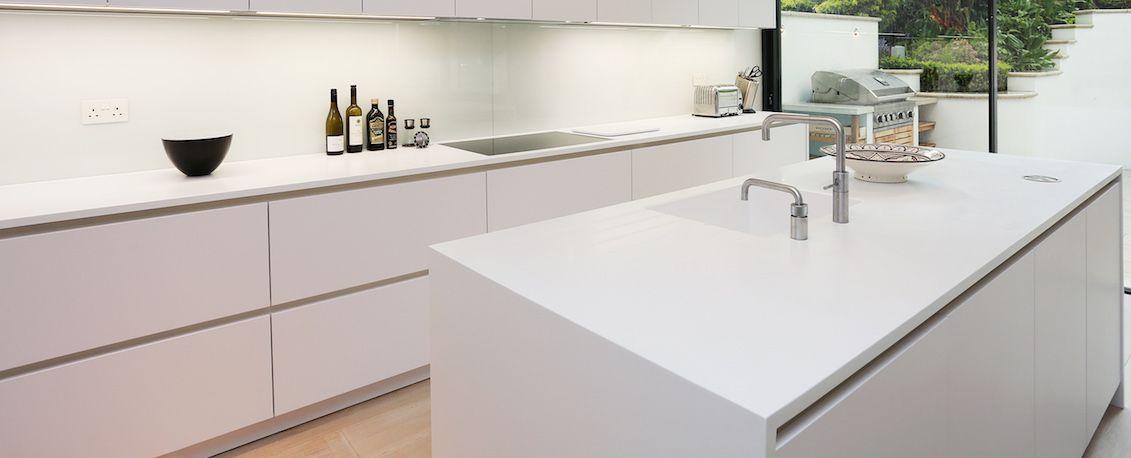 Designer white Corian worktops