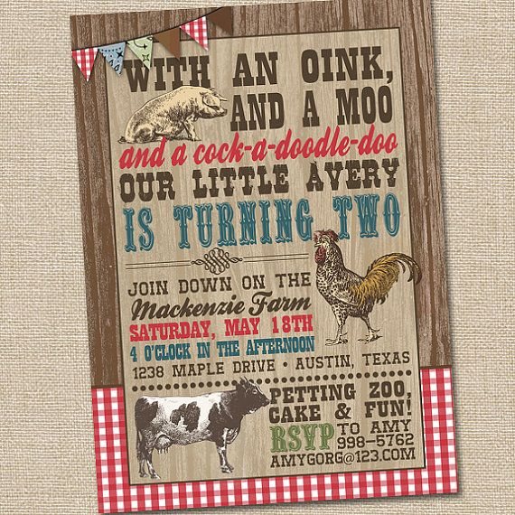 Farm birthday invitations farm party invitation barnyard party old macdonald on the farm vintage petting zoo printable birthday party invitation stopboris Choice Image