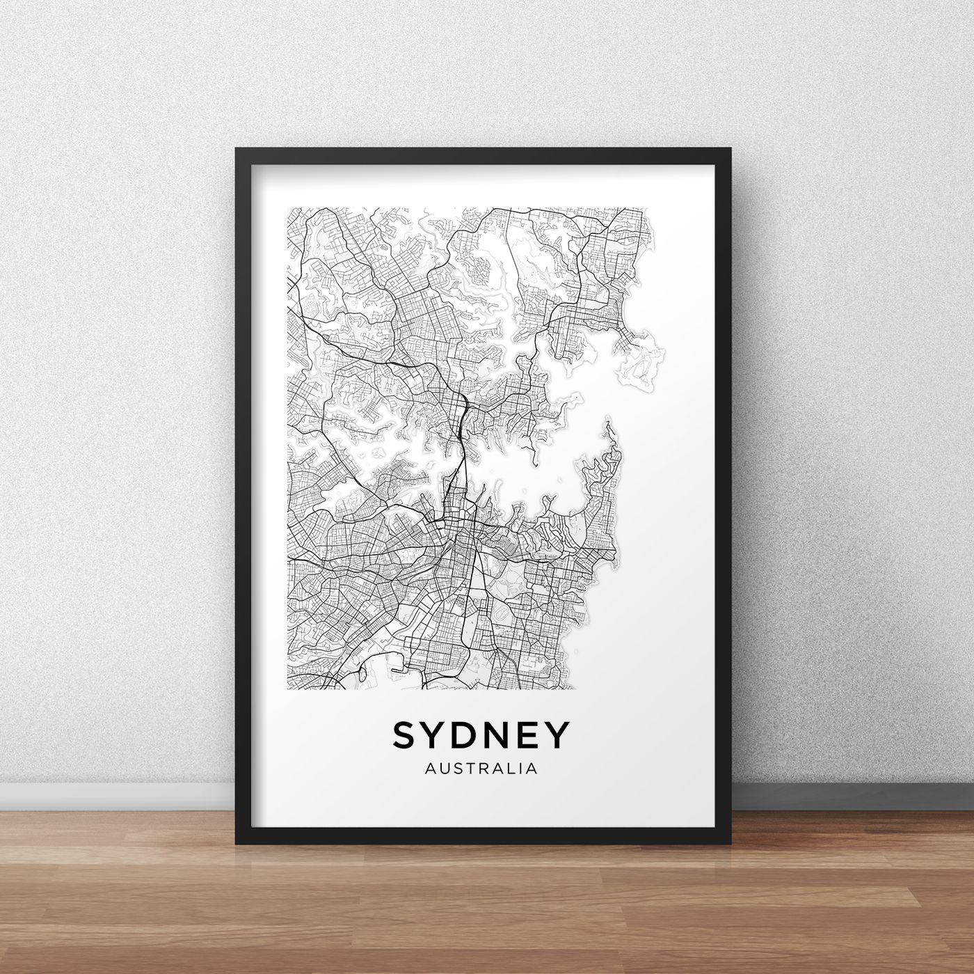 Sydney Map Print, Sydney Map Download, City Map Sydney, Sydney ...