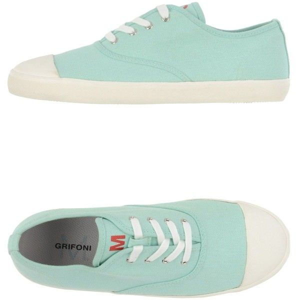 M.grifoni Denim Sneakers ($54) ❤ liked on Polyvore featuring shoes, sneakers, light green, round cap, flat shoes, light green shoes, round toe shoes and round toe sneakers