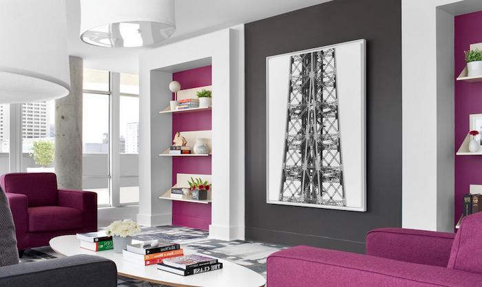 Idea tabella colori, abbinamento colore grigio e viola, pareti ...