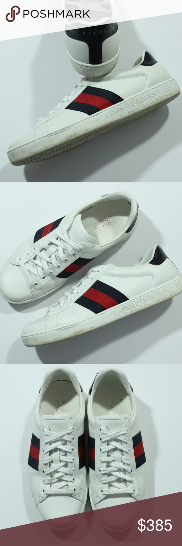 79c13e35f Authentic Gucci Ace Leather Sneaker White Navy Red Authentic Gucci Ace  Leather Sneaker White Navy Red