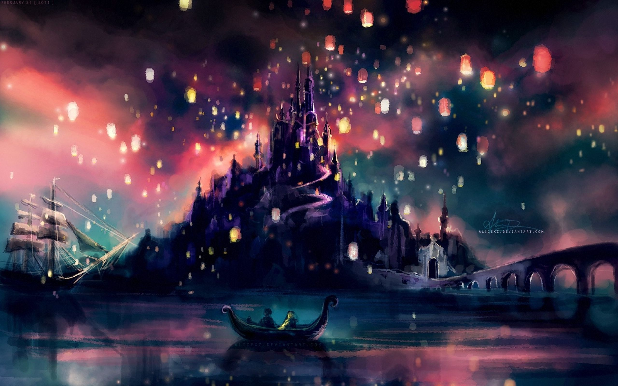 Download Wallpapers Download 2560x1600 Castles Ships Lanterns Fantasy Art Tangled Rapunzel Artwork Alice X Zhan Disney Tangled Disney Wallpaper Tangled Castle