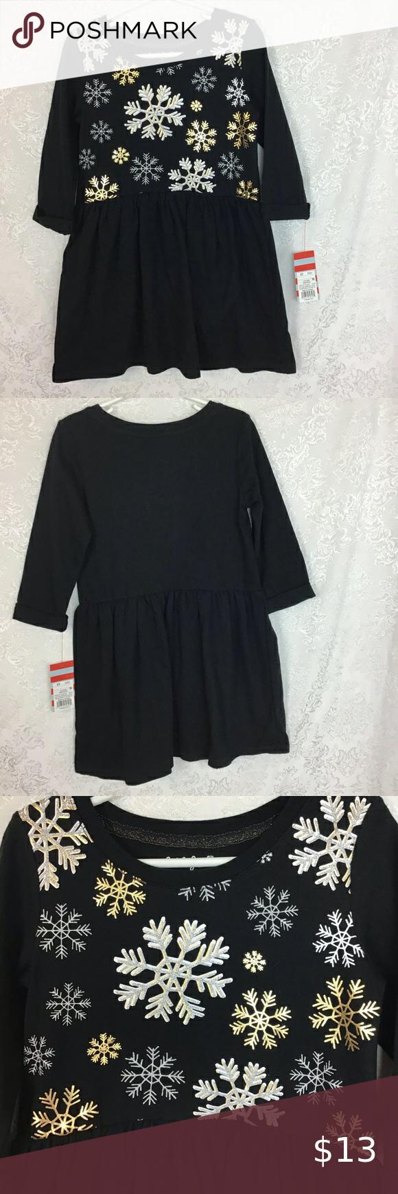 Cat Jack Snowflake Dress Black 5t Glitter Nwt Snowflake Dress Black Dress Black Cuff [ 1740 x 580 Pixel ]