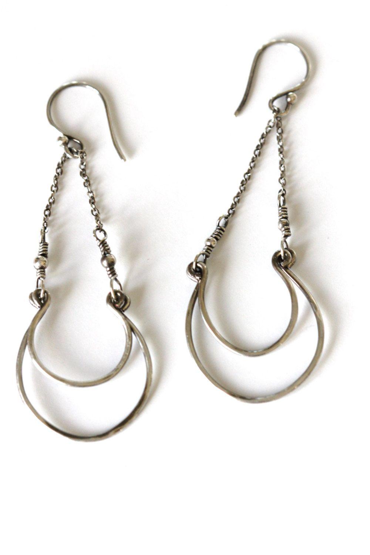 Large double hoop silver chandelier earrings oxidized sterling sterling silver chandelier earrings large hammered silver hoop earrings hand forged oxidized silver aloadofball Choice Image