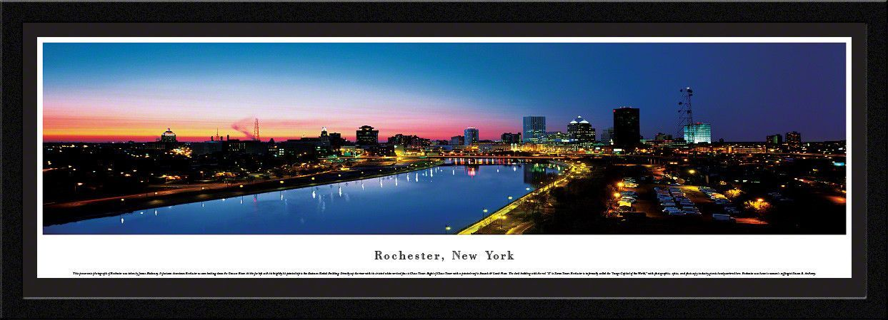 Rochester Skyline Panoramic Picture Framed New York Panoramic