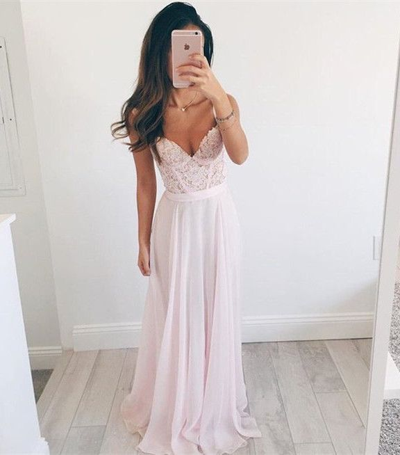 Prom Dresses,Pink Long Prom Dress,Elegant A-line Prom Dress,V-neck Long Chiffon Evening Dress