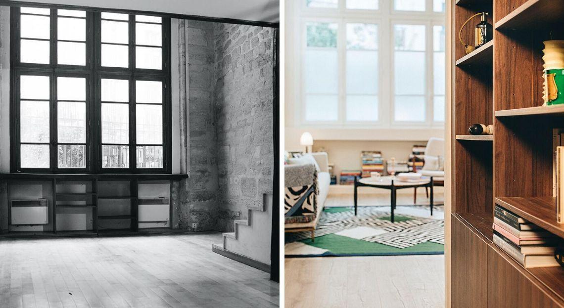 Avant Apres Un Duplex De 70 M2 Refaconne A Paris Cuisines Exterieures Meubles De Maison Appartements Bricolage Palette Real In 2020 Home Home Decor Room Divider