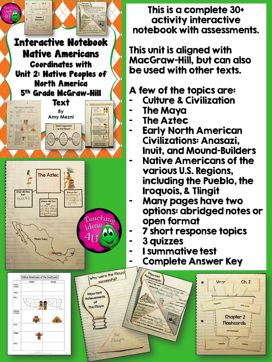 Interactive Notebook on Native Americans 4th-7th grade, includes pictures, assessments and a full answer key. Some cover topics include culture, civilization, theories, the Maya, the Aztec, early North American civilizations, and Native Americans from different U.S. regions. Product is aligned with McGrawHill, but activities can be used independently. Short response, quizzes, and a summative test are included. $