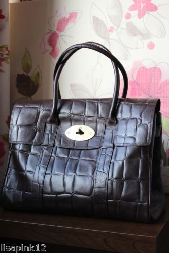 b4be56b63d MULBERRY Bayswater Reptile Print Chocolate Bag Used. Good Condition ...