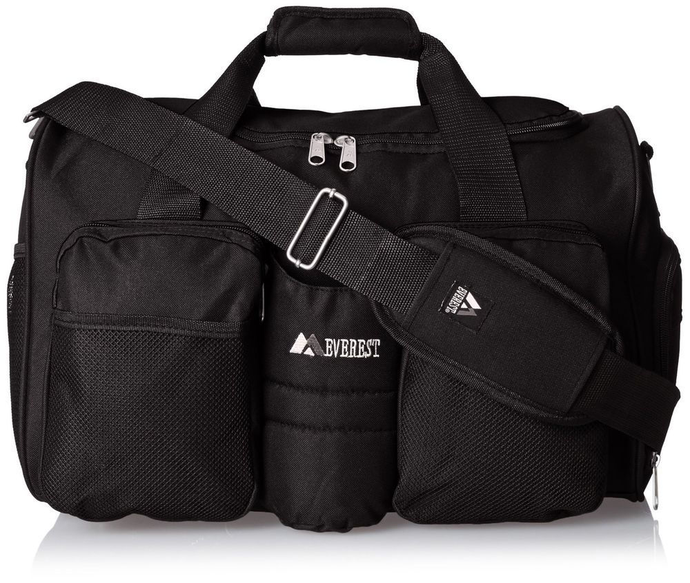 05ad6296c3d Duffel bag sports Gym w  side Pocket strap Velcro Black Travel Fitness  Duffle  everest  DuffleGymBag