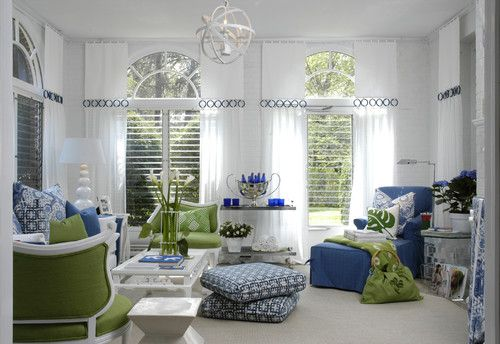 Love this room, blue and green