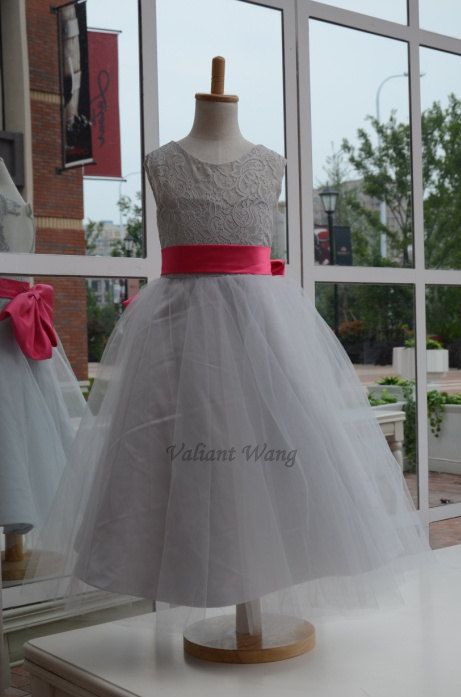 Grey lace flower girl dress pink sash white country by valiantwang grey lace flower girl dress pink sash white country by valiantwang 4999 mightylinksfo Gallery