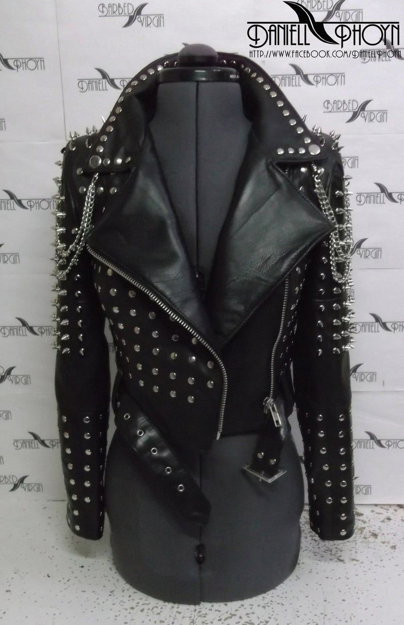 Genuine Leather Short Jackets With Studs Spikes Etsy Studded Leather Jacket Leather Jackets Women Short Leather Jacket [ 1227 x 794 Pixel ]