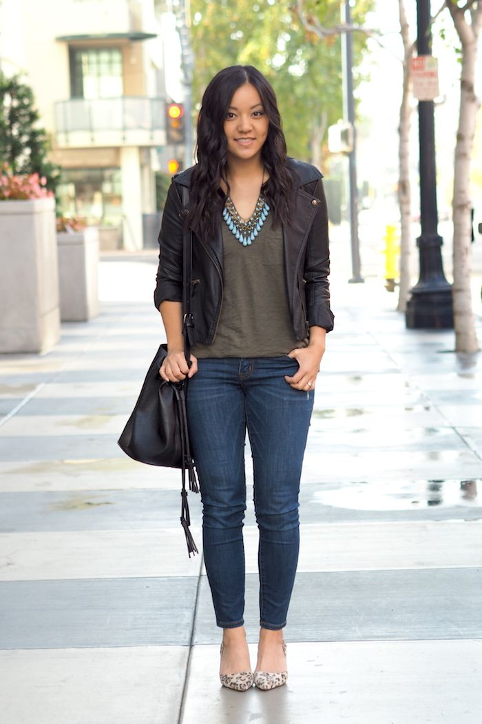 60f9b61dfce Olive Shirt + Turquoise Necklace + Leather Jacket + Jeans + Black Handbag +  Leopard Shoes    Putting Me Together