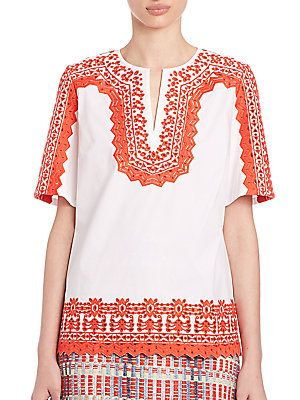 8822b3bacae Tory Burch Isla Embroidered Tunic | Products | Embroidered tunic ...